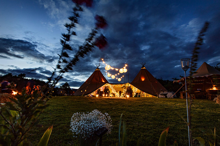 Fairy Lights Lanterns Outdoorsy Garden Rustic Tipi Wedding http://alexabbottphotography.co.uk/