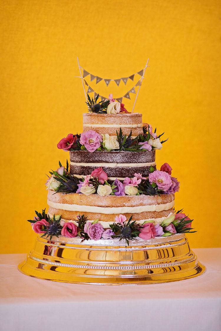 Naked Cake Sponge Layer Outdoorsy Garden Rustic Tipi Wedding http://alexabbottphotography.co.uk/