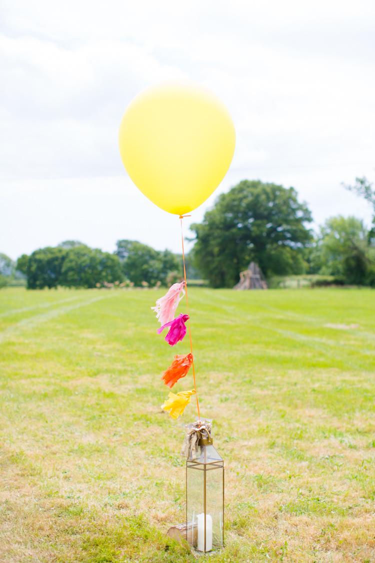 Tassel Ballon Colourful Pastel Home Made Farm Wedding http://helencawtephotography.com/