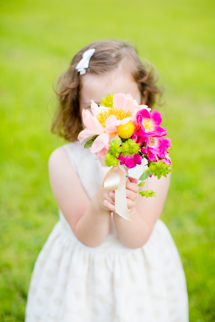 Flower Girl Bouquet Peony Pink Yellow Colourful Pastel Home Made Farm Wedding http://helencawtephotography.com/