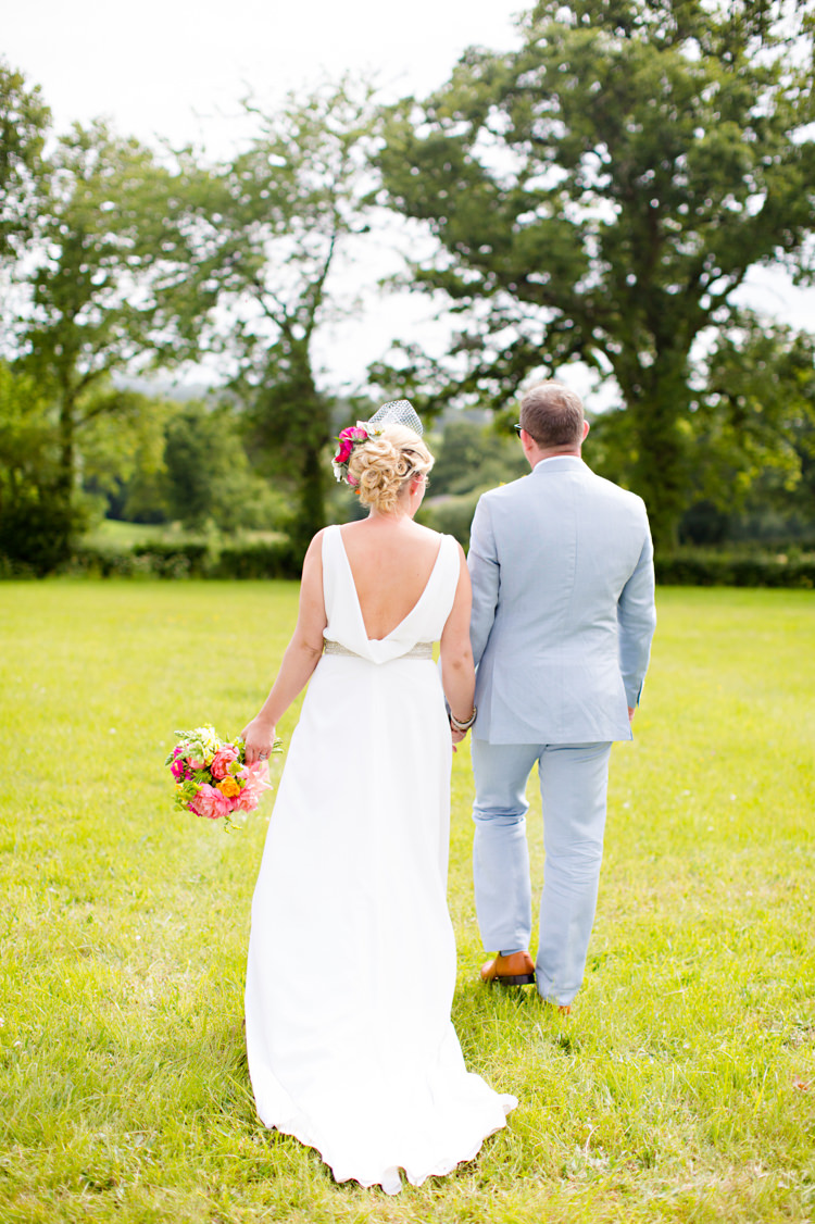 Jesus Piero Dress Gown Bride Bridal Cowl Back Colourful Pastel Home Made Farm Wedding http://helencawtephotography.com/