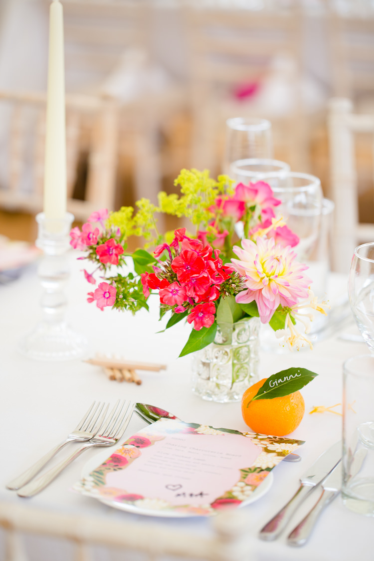 Pink Yellow Flowers Place Setting Decor Colourful Pastel Home Made Farm Wedding http://helencawtephotography.com/
