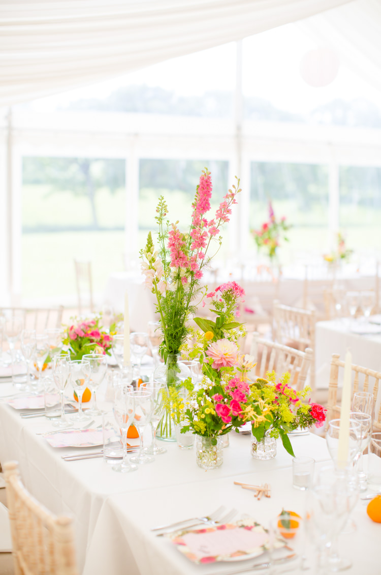 Summer Flowers Wild Pink Yellow Centrepiece Decor Long Tables Colourful Pastel Home Made Farm Wedding http://helencawtephotography.com/