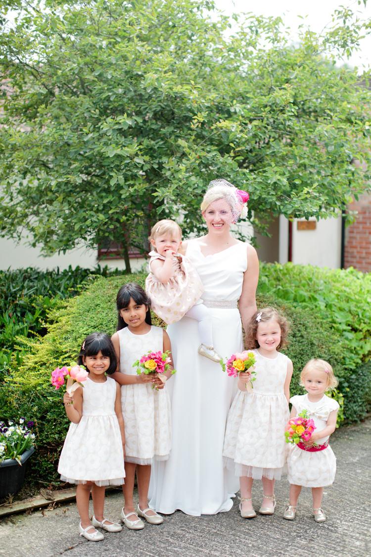 Flower Girls Polka Dot Dresses Colourful Pastel Home Made Farm Wedding http://helencawtephotography.com/