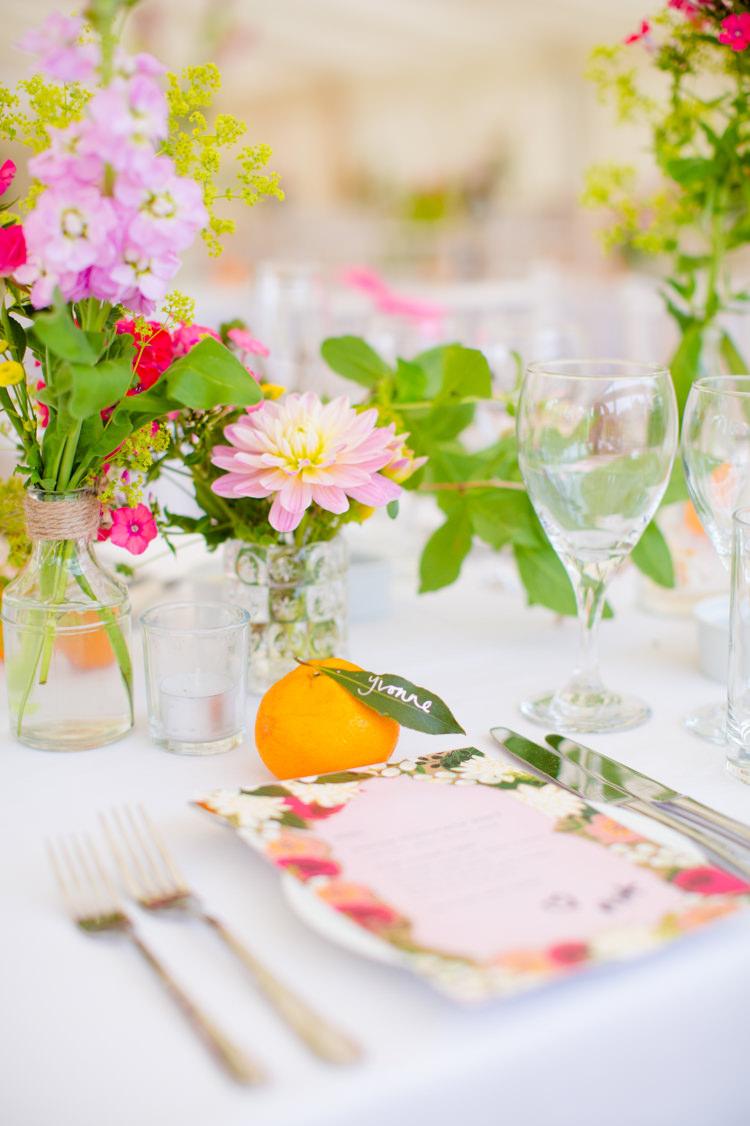 Orange Place Name Setting Card Colourful Pastel Home Made Farm Wedding http://helencawtephotography.com/