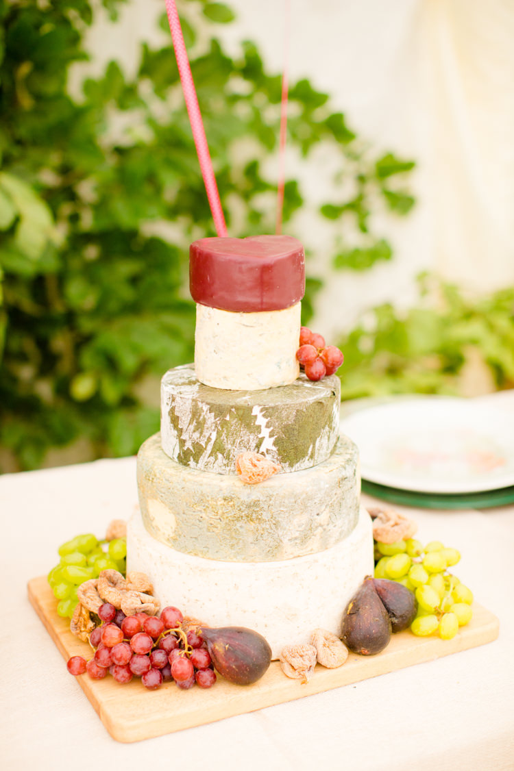 Cheese Tower Stack Cake Colourful Pastel Home Made Farm Wedding http://helencawtephotography.com/
