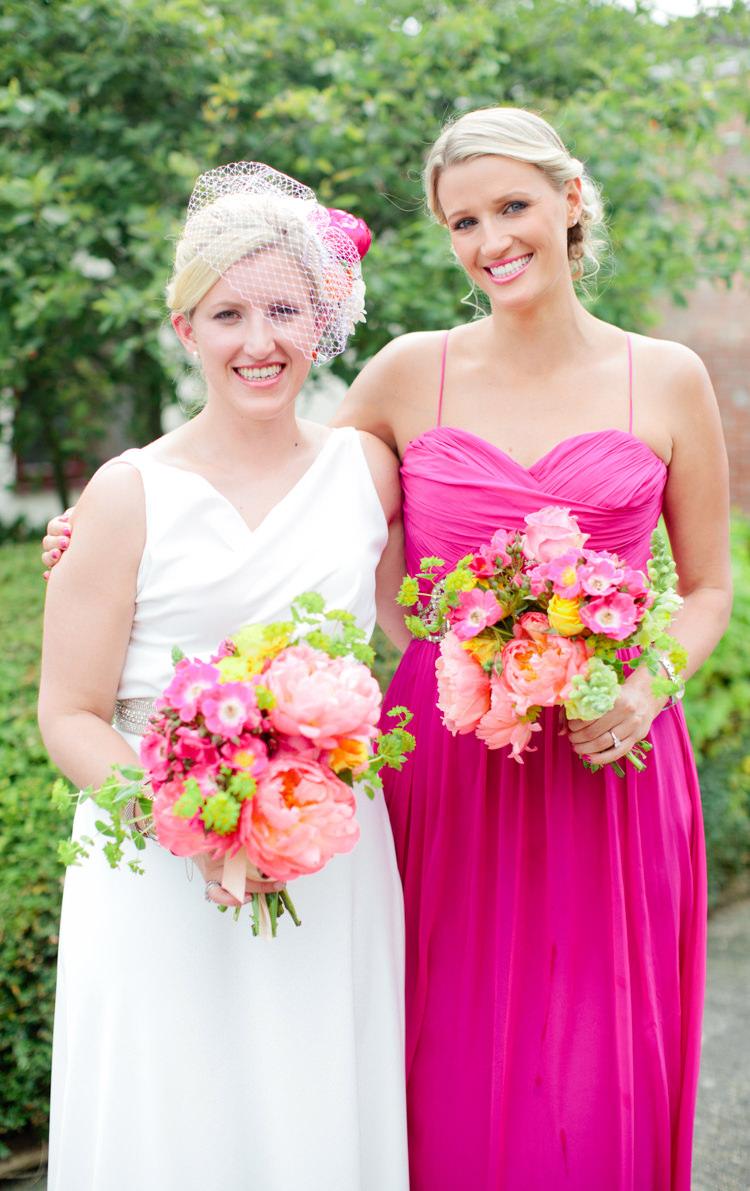 Pink Bridesmaid Dress Long Colourful Pastel Home Made Farm Wedding http://helencawtephotography.com/