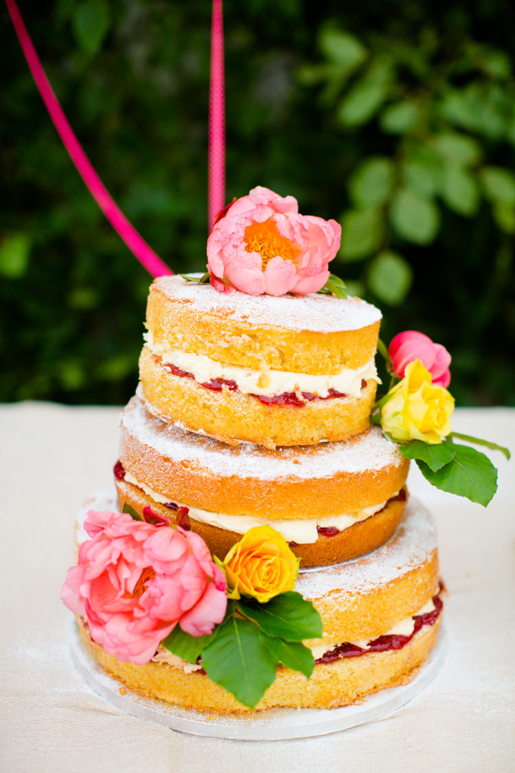 Naked Cake Sponge Coral Peony Peonies Victoria Layer Colourful Pastel Home Made Farm Wedding http://helencawtephotography.com/
