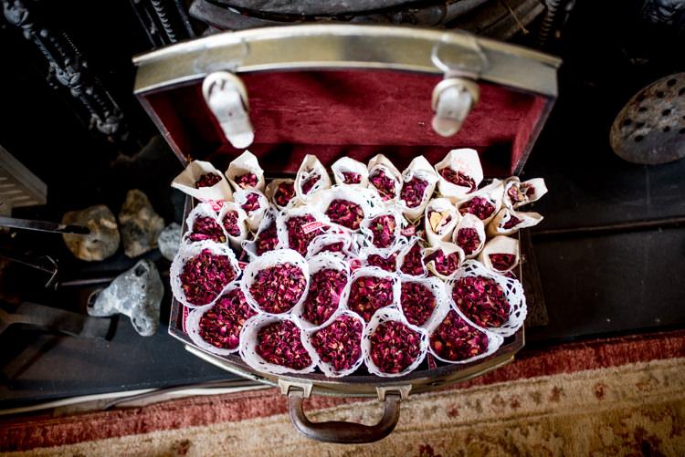 Petal Confetti Cones Multicoloured Home Made Glamping Wedding http://www.michellewoodphotographer.com/