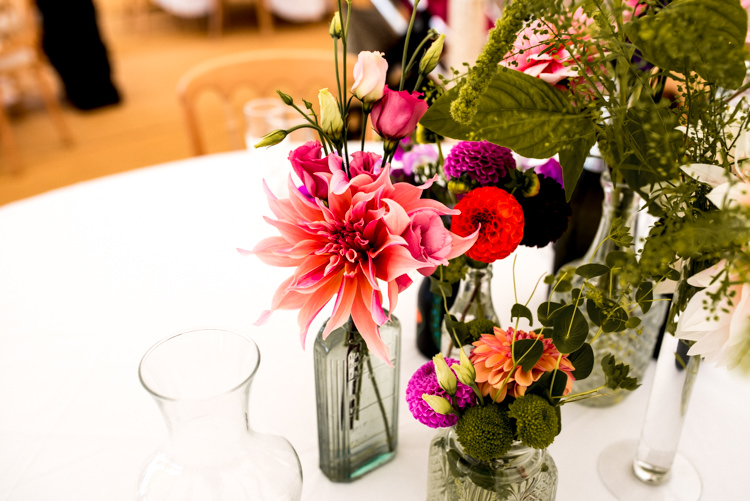 Dahlia Flowers Bottles Centrepiece Table Decor Multicoloured Home Made Glamping Wedding http://www.michellewoodphotographer.com/