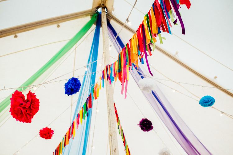 Rainbow Rag Bunting Pom Poms Marquee Multicoloured Home Made Glamping Wedding http://www.michellewoodphotographer.com/