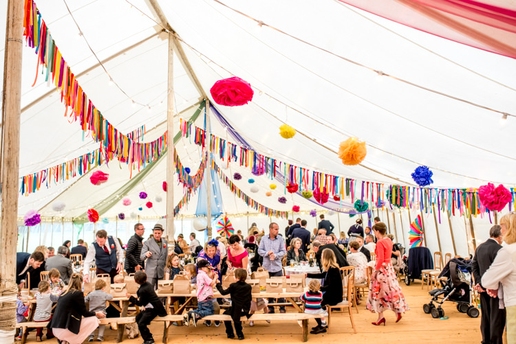 Marquee Rag Bunting Pom Poms Multicoloured Home Made Glamping Wedding http://www.michellewoodphotographer.com/