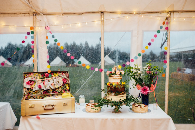 Cake Table Multicoloured Home Made Glamping Wedding http://www.michellewoodphotographer.com/