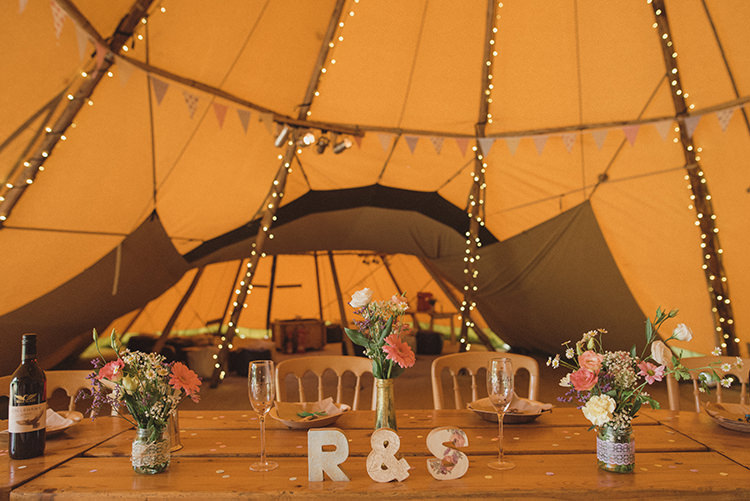 Tipi Bunting Fairy Lights Jar Bottle Flowers Decor Rustic Quirky Woodland Wedding http://www.rebeccadouglas.co.uk/