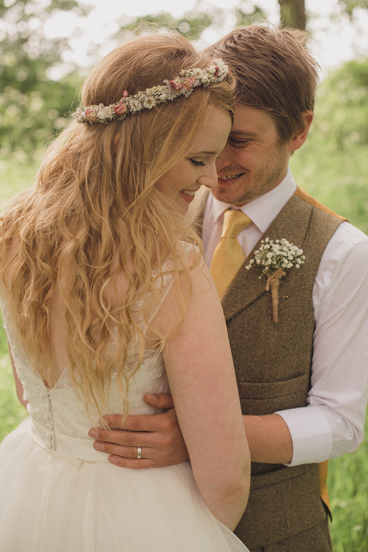 Long Hair Waves Bride Bridal Dried Flower Crown Rustic Quirky Woodland Wedding http://www.rebeccadouglas.co.uk/