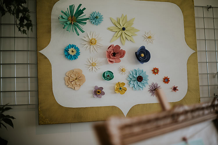 Paper Flowers Wall Decor Colourful Crafty Relaxed Watercolour Wedding https://suesliquephotography.com/