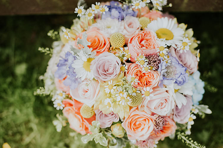 Pastel Flowers Bouquet Bride Bridal Daisy Rose Billy Ball Colourful Crafty Relaxed Watercolour Wedding https://suesliquephotography.com/