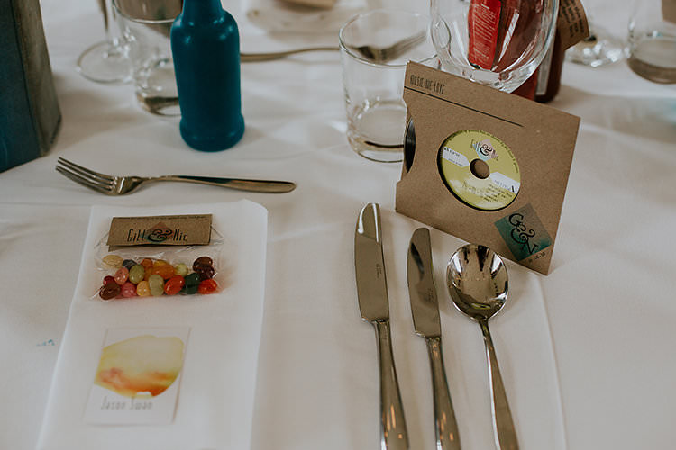 CD Favours Jelly Beans Colourful Crafty Relaxed Watercolour Wedding https://suesliquephotography.com/