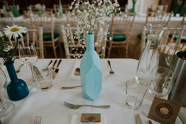 Mint Spray Painted Bottle FLowers Decor Colourful Crafty Relaxed Watercolour Wedding https://suesliquephotography.com/