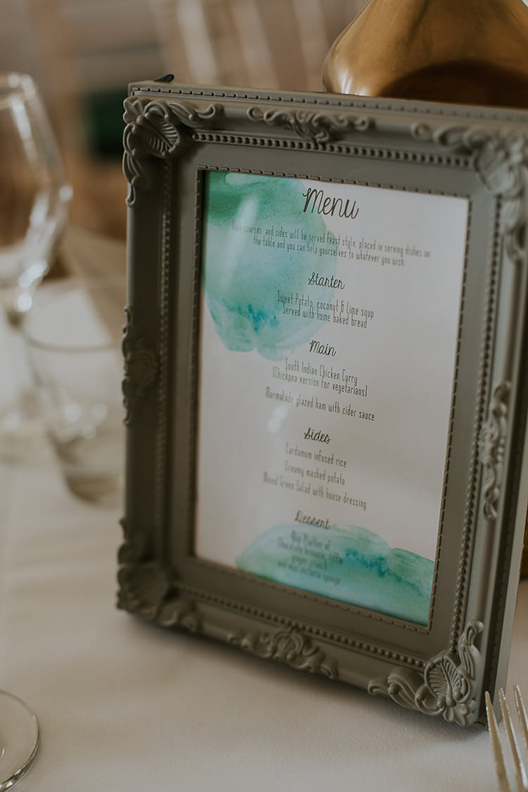 Stationery Menu Pastel Colourful Crafty Relaxed Watercolour Wedding https://suesliquephotography.com/