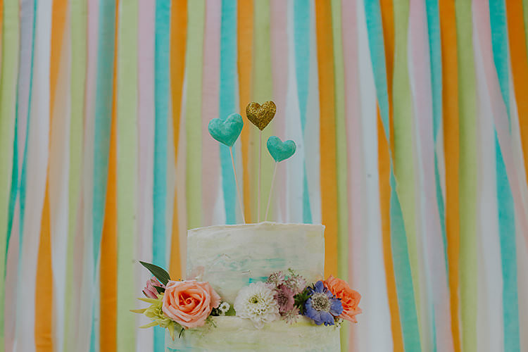 Ribbon Backdrop Cake Table Colourful Crafty Relaxed Watercolour Wedding https://suesliquephotography.com/