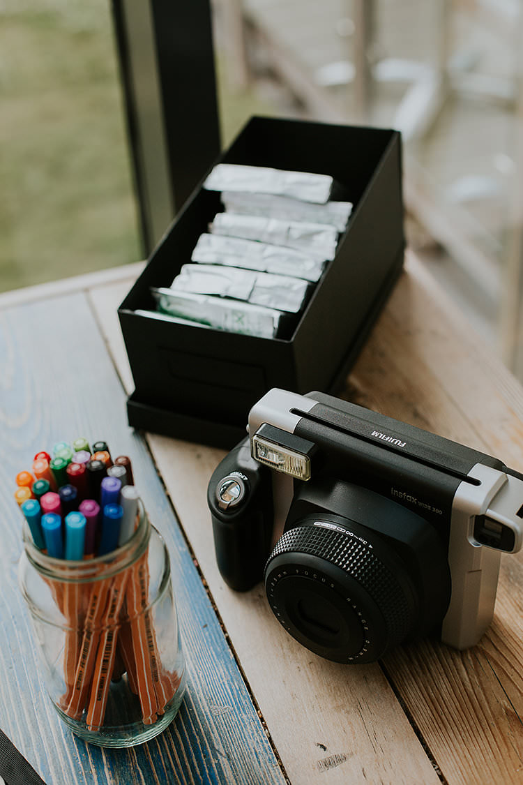 Polariod Guest Book Photo Booth Colourful Crafty Relaxed Watercolour Wedding https://suesliquephotography.com/