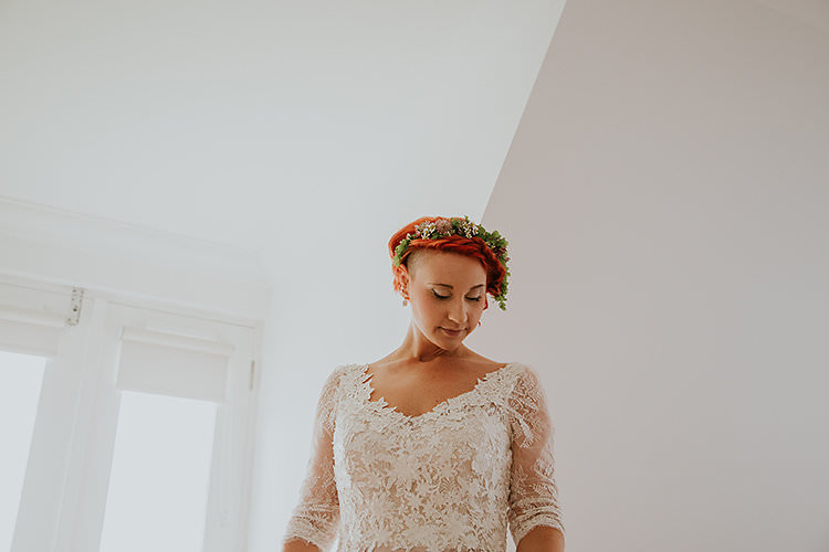 Bride Bridal Hair Make Up Flower Crown Colourful Crafty Relaxed Watercolour Wedding https://suesliquephotography.com/