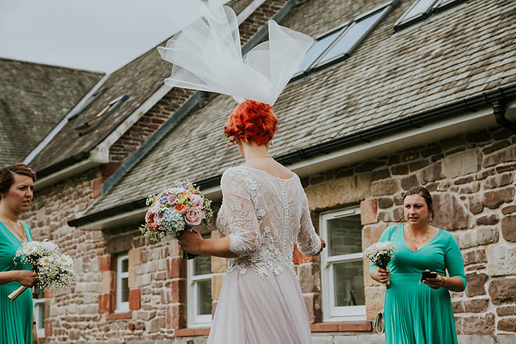 Short Veil Bride Bridal Accessory Colourful Crafty Relaxed Watercolour Wedding https://suesliquephotography.com/