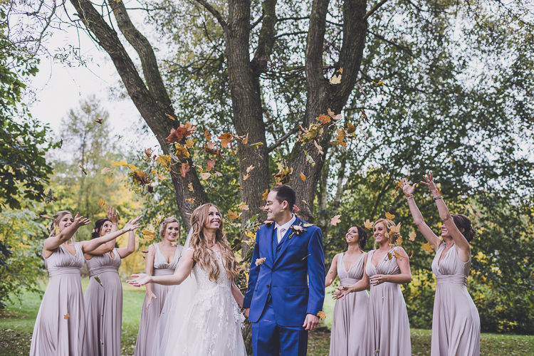 Leaf Confetti Bride Groom Ethereal Romantic Autumn Barn Wedding http://www.oacphotography.com/