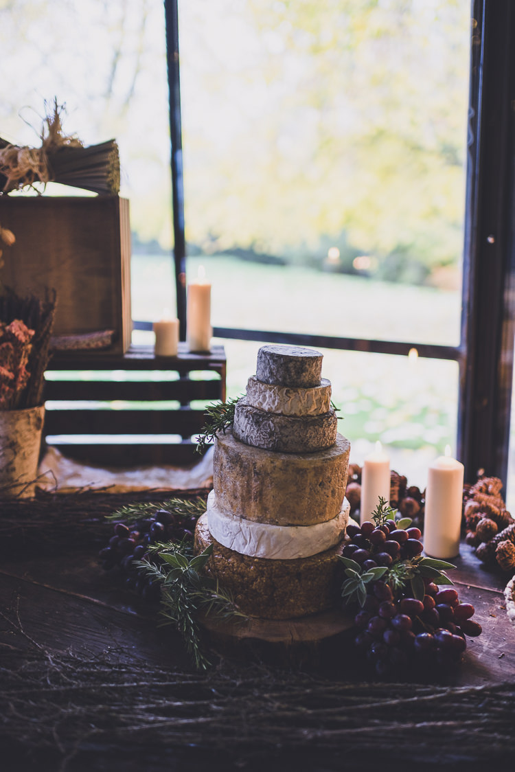 Cheese Tower Stack Cake Ethereal Romantic Autumn Barn Wedding http://www.oacphotography.com/