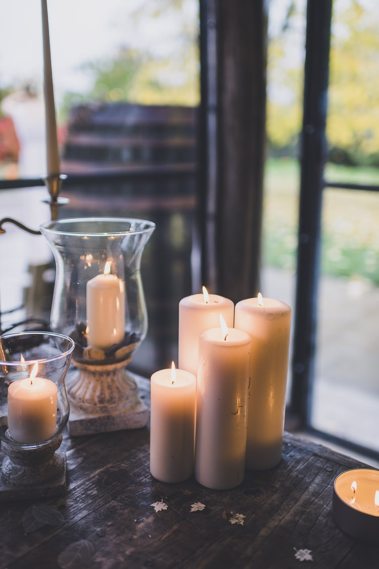 Candles Lighting Ethereal Romantic Autumn Barn Wedding http://www.oacphotography.com/