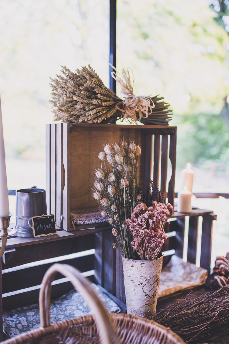 Dried Flowers Decor Crates Ethereal Romantic Autumn Barn Wedding http://www.oacphotography.com/