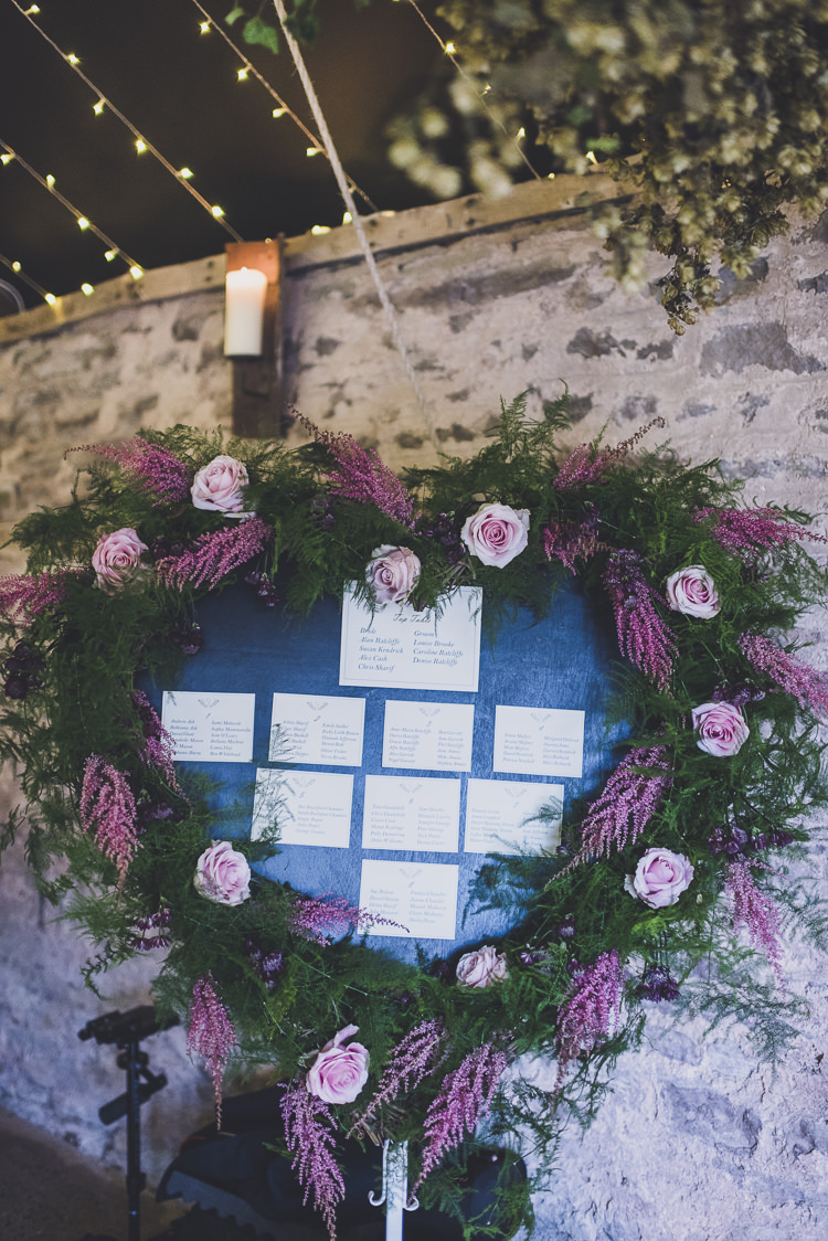 Seating Table Plan Chart Flowers Heart Floral Greenery Foliage Ethereal Romantic Autumn Barn Wedding http://www.oacphotography.com/