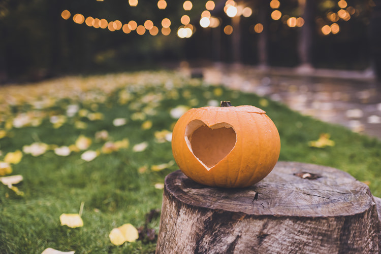 Heart Pumpkin Decor Ethereal Romantic Autumn Barn Wedding http://www.oacphotography.com/