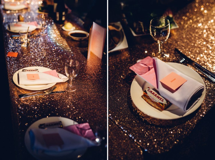 Rose Gold Sequin Table Cloth Colourful Modern Fun Balloons Wedding http://www.lovestruckphoto.co.uk/