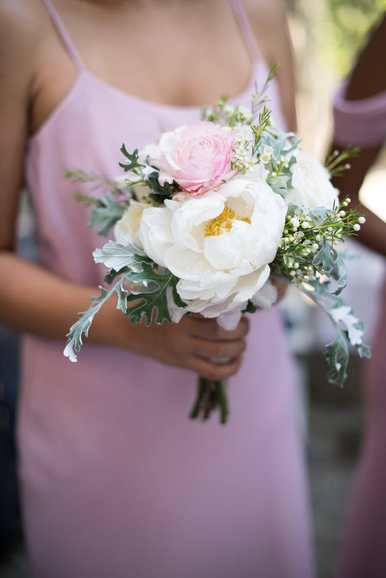 Bridesmaid Soft Pink Dress Bouquet White Pink Rose Peony Flowers Romantic Outdoor Castle Tuscany Wedding http://www.natalymontanari.com/