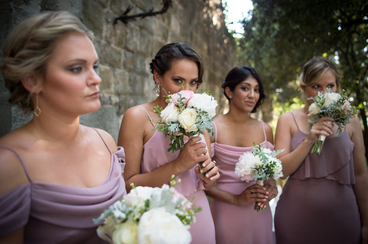 Bridesmaids Soft Pink Purple Dresses Bouquet White Pink Rose Peony Florals Romantic Outdoor Castle Tuscany Wedding http://www.natalymontanari.com/