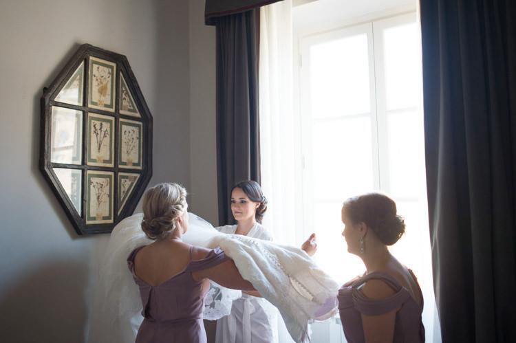 Bride Bridal Gown Bridesmaids Soft Purple Dresses Getting Ready Romantic Outdoor Castle Tuscany Wedding http://www.natalymontanari.com/