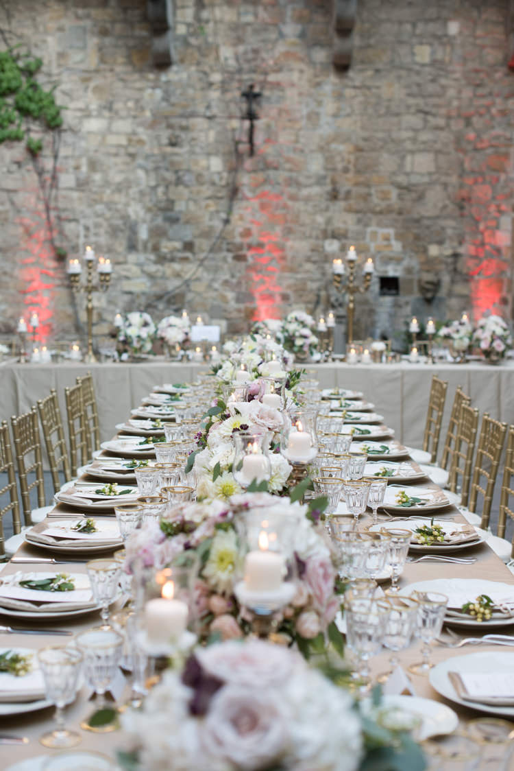 Reception Table Settings Fresh White Pink Florals Peony Rose Daisy Metallic Gold Chairs Candlesticks Romantic Outdoor Castle Tuscany Wedding http://www.natalymontanari.com/