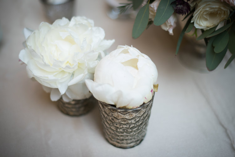 Reception Table Setting Fresh Florals White Peony Flowers Small Metallic Vases Romantic Outdoor Castle Tuscany Wedding http://www.natalymontanari.com/