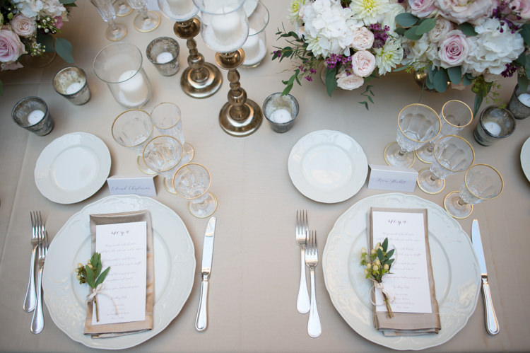 Reception Table Settings Fresh White Pink Purple Florals Roses Peonies Daises Gold Candlesticks Menu Gold Wine Glasses Romantic Outdoor Castle Tuscany Wedding http://www.natalymontanari.com/