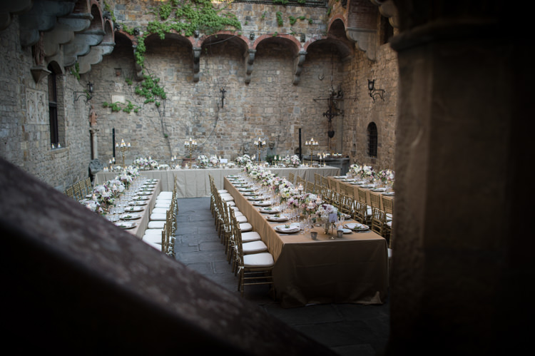 Reception Table Settings Gold Chairs Fresh Florals Candlesticks Romantic Outdoor Castle Tuscany Wedding http://www.natalymontanari.com/