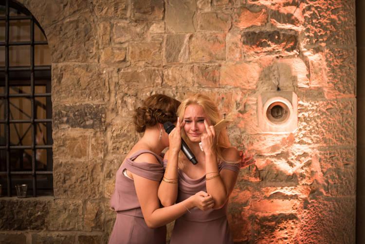 Reception Speeches Bridesmaids Soft Purple Dresses Romantic Outdoor Castle Tuscany Wedding http://www.natalymontanari.com/