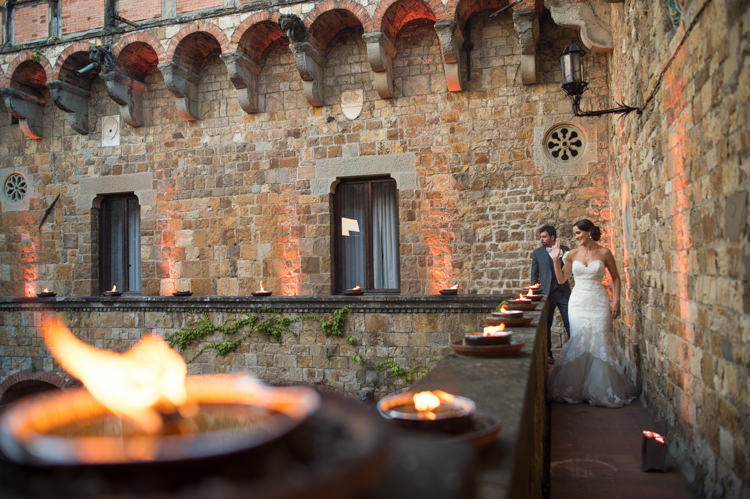 Outdoor Reception Bride Fitted Lace Mermaid Bridal Gown Groom Black Suit Candles Romantic Outdoor Castle Tuscany Wedding http://www.natalymontanari.com/