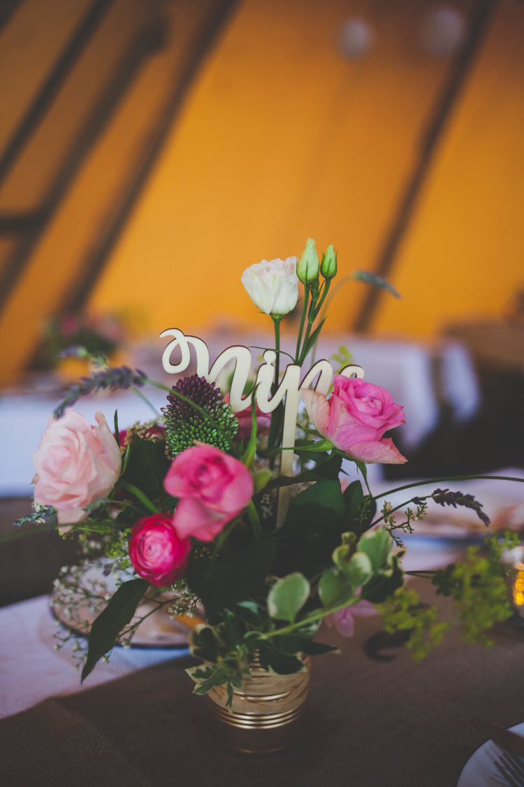 Tin Can Flowers Gold Table Numbers Centrepiece Decor Table DIY Summer Tipi Wedding http://www.eva-photography.com/