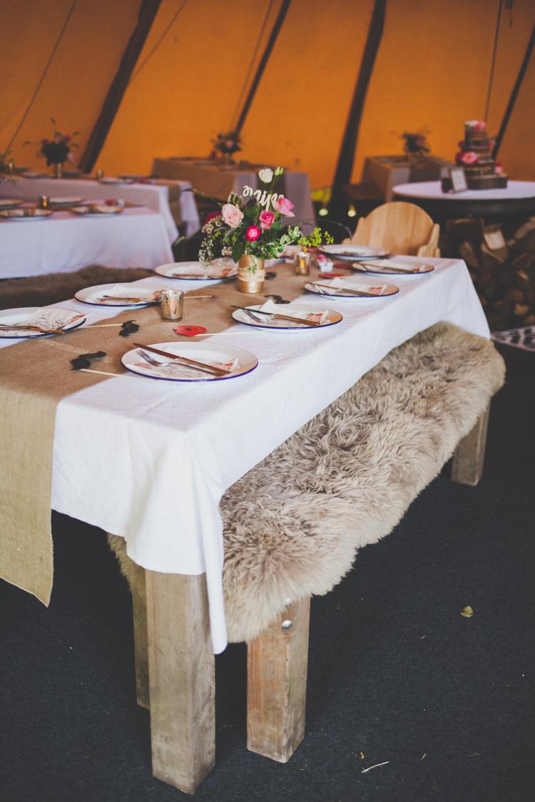 Decor Tables Hessian Flowers Rustic DIY Summer Tipi Wedding http://www.eva-photography.com/