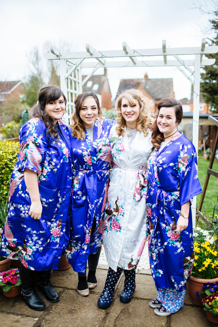 Floral Dressing Gowns Bridesmaids Enchanted English Country Garden Wedding Disney http://lauradebourdephotography.com/