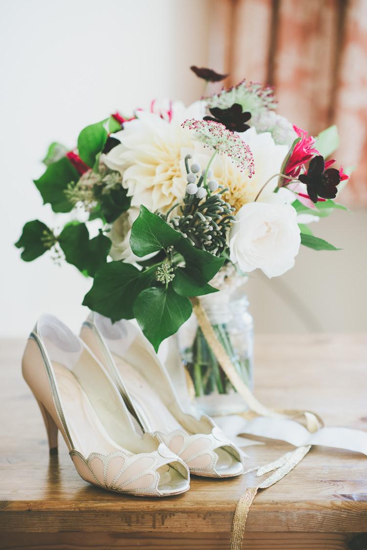 Peach Rachel Simpson Shoes Bride Bridal Bouquet Eclectic Quirky DIY Vintage Wedding https://www.georgimabee.com/