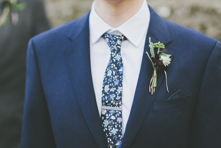 Floral Tie Groom Buttonhole Autumn Eclectic Quirky DIY Vintage Wedding https://www.georgimabee.com/