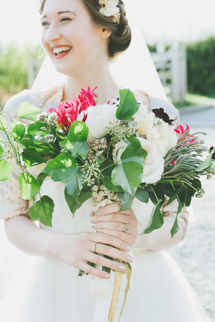 Dahlia Bouquet Flowers Bride Bridal Ribbon Autumn Eclectic Quirky DIY Vintage Wedding https://www.georgimabee.com/